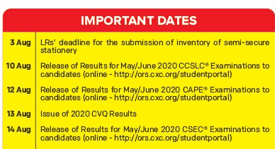 CXC Results 2020 May/June Release Date: When is cxc results coming out 2020?